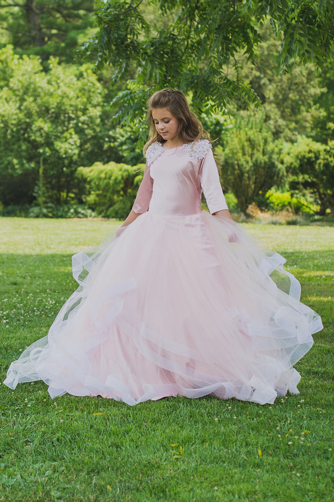 Tulle Waved Girls  Gown