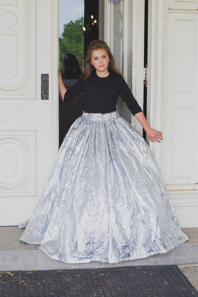 Metallic Girls Ball Gown