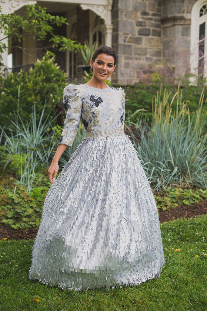 Metallic Fringe Ball Gown