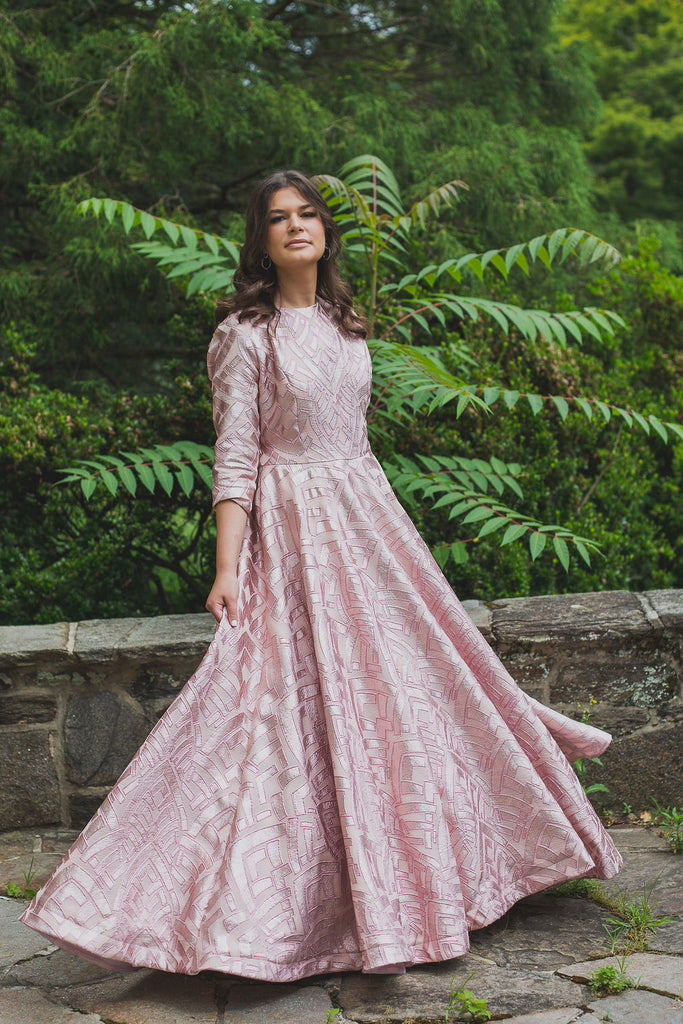 Blush Foiled Ball Gown