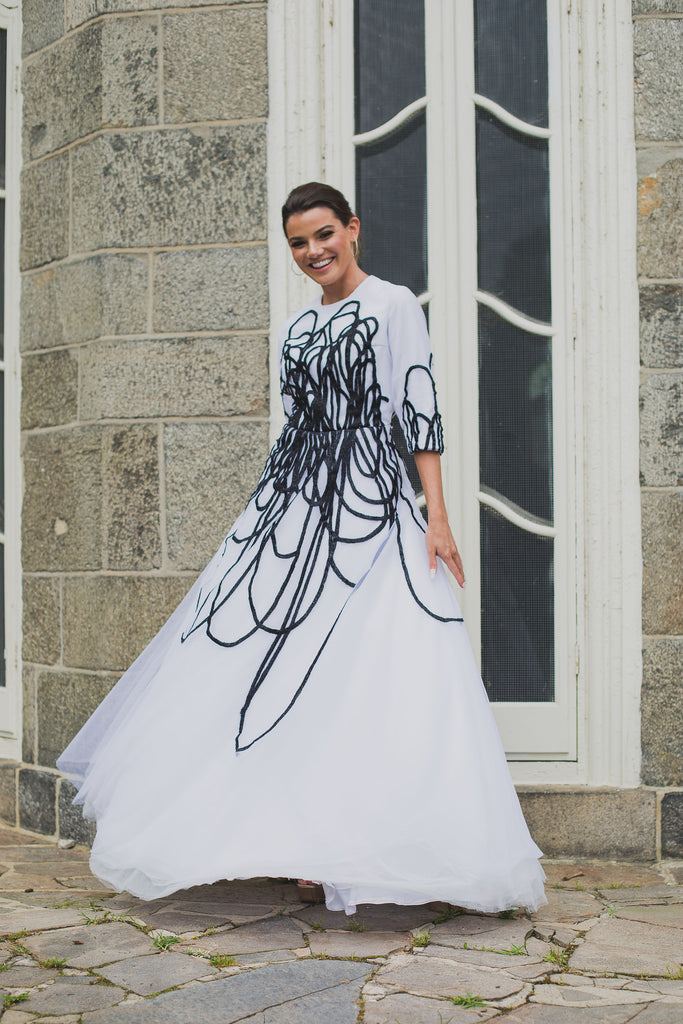 Abstract Tulle Gown