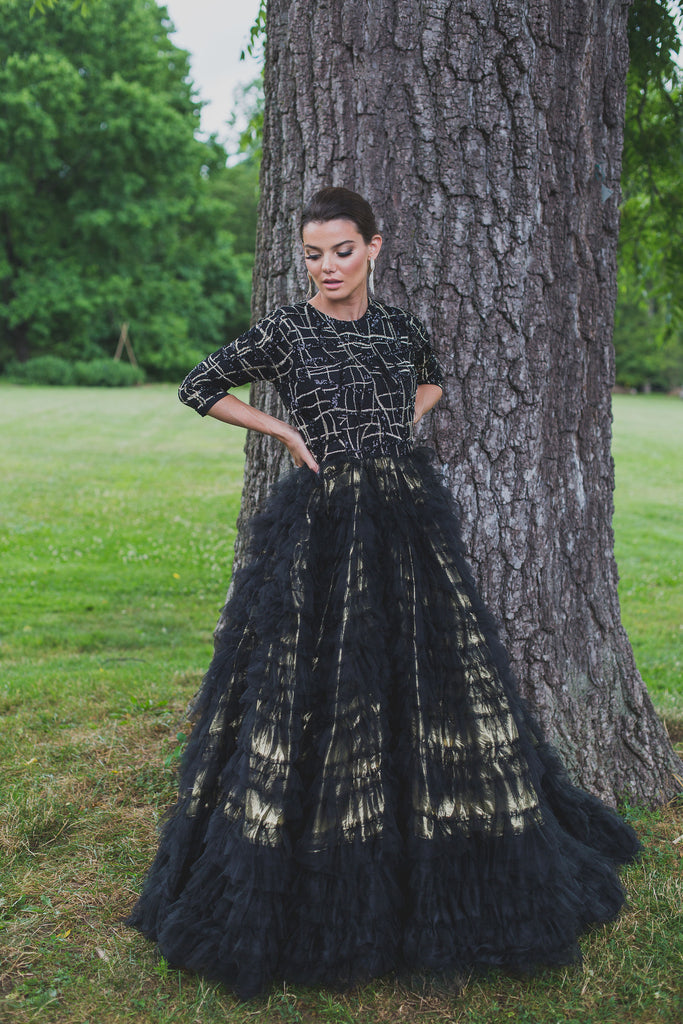 Geometric Tiered Ball Gown