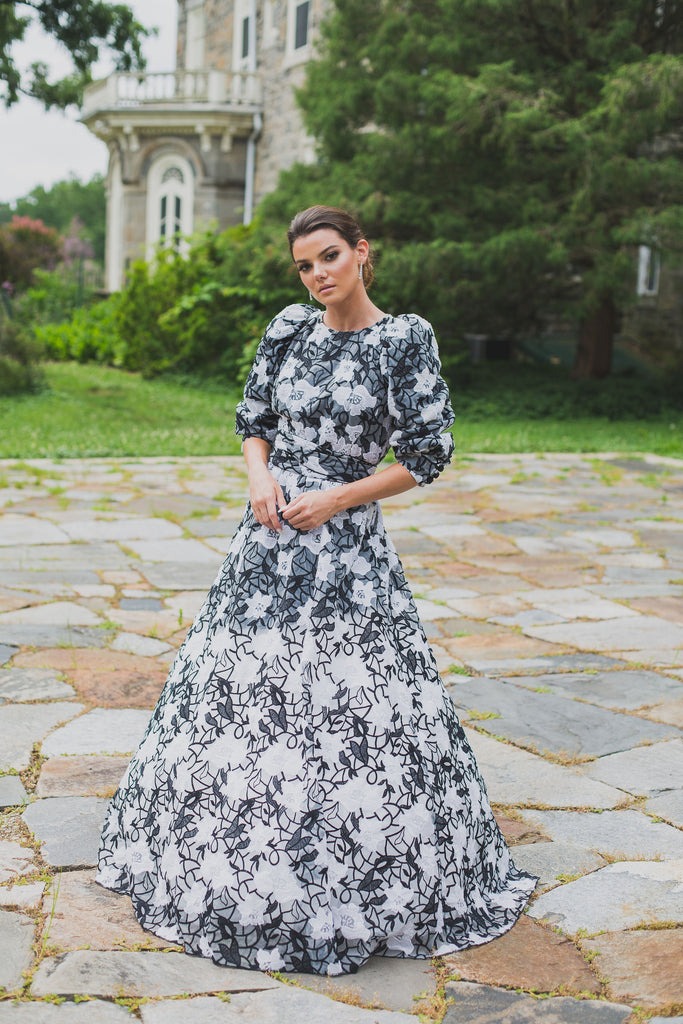 Ombré Black & White Floral Gown