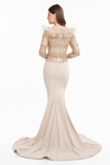 Terani Couture feather beaded modest mermaid gown
