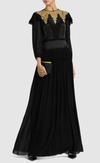 Black and gold silk georgette modest gown