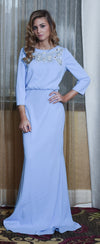 Powder blue modest gown with cutouts