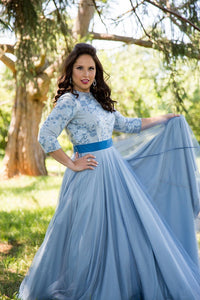 Blue Tulle Overlay Gown