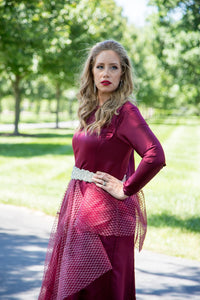 Burgundy Netted Peplum Gown