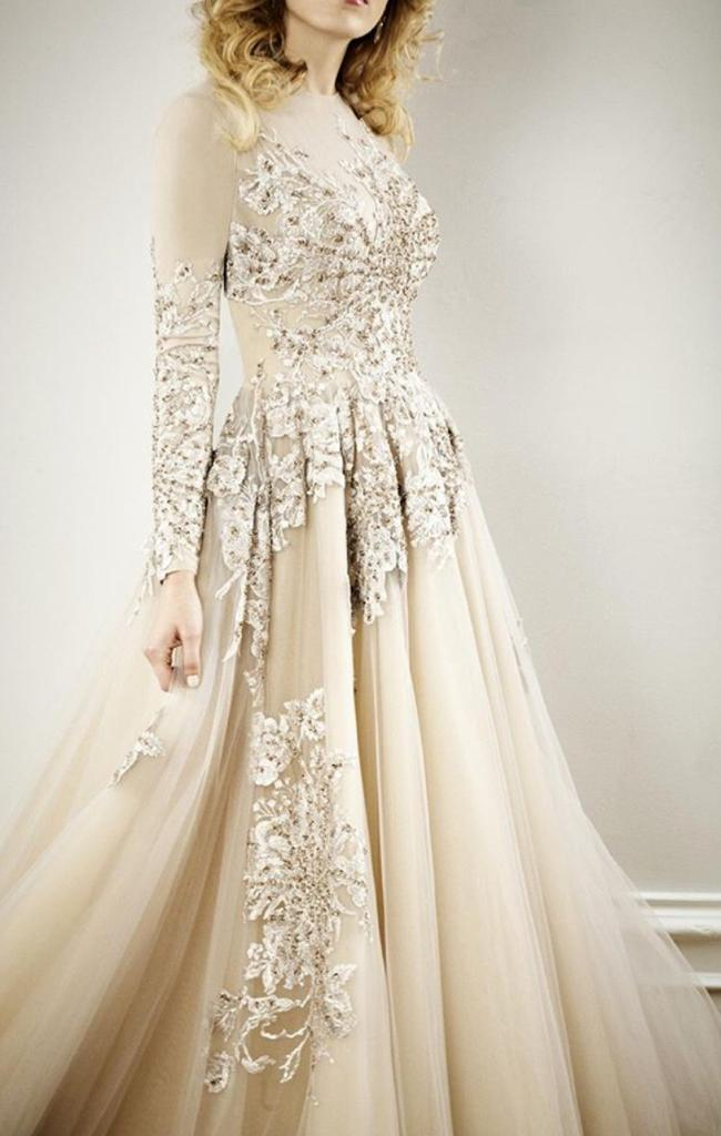 Champagne Beaded Ball Gown