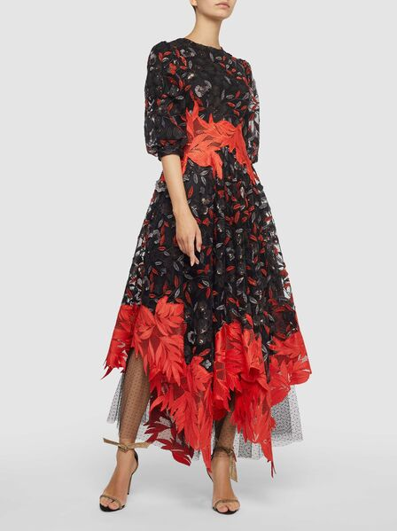 Costarellos leaf and lace asymmetrical black and red modest cocktail dress