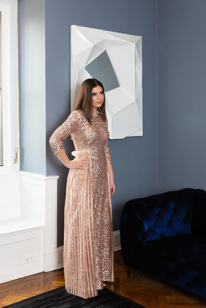 Rose Gold Sequin Flutter Gown
