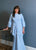 Safiyaa ice blue modest gown with side ruffle