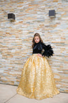Crinkled Feather Girls Ball Gown
