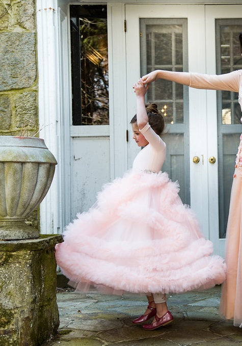 FRAYFRAY Girls Twirl Tulle Pink Gown