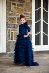 Navy blue tulle tiered girls modest gown