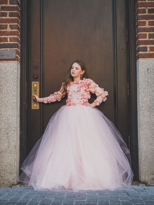 3d floral girls modest ballgown