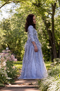 Ice Blue Summer Feather Ball Gown