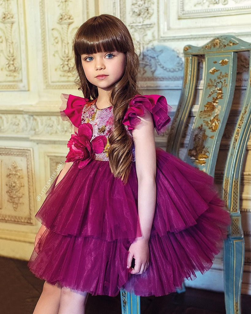 Organza Berry Girls Gown