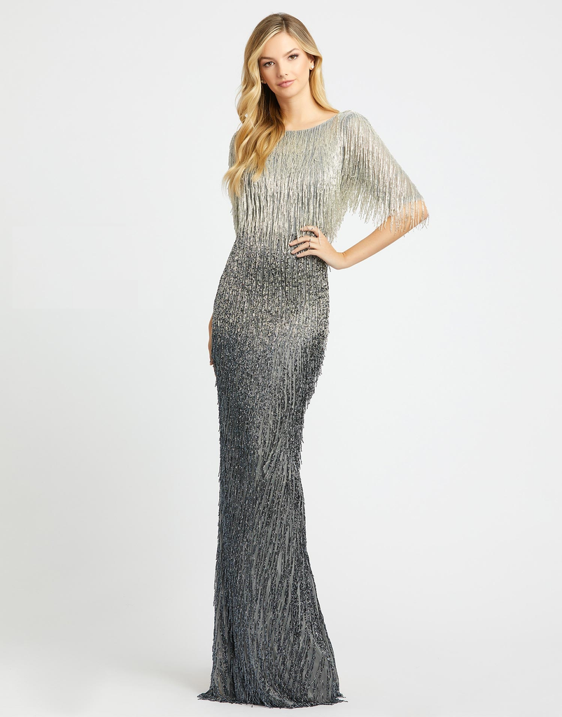 Liquid beaded ombre grey modest gown