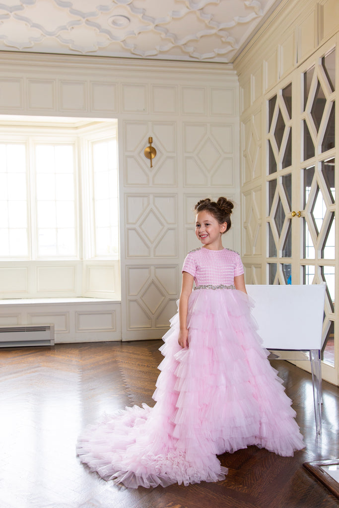 Girls tiered train pink modest gown