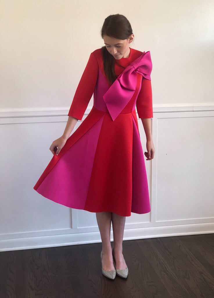 Red and pink bow modest cocktail dress