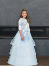 Powder Blue Floral Cascading Girls Gown