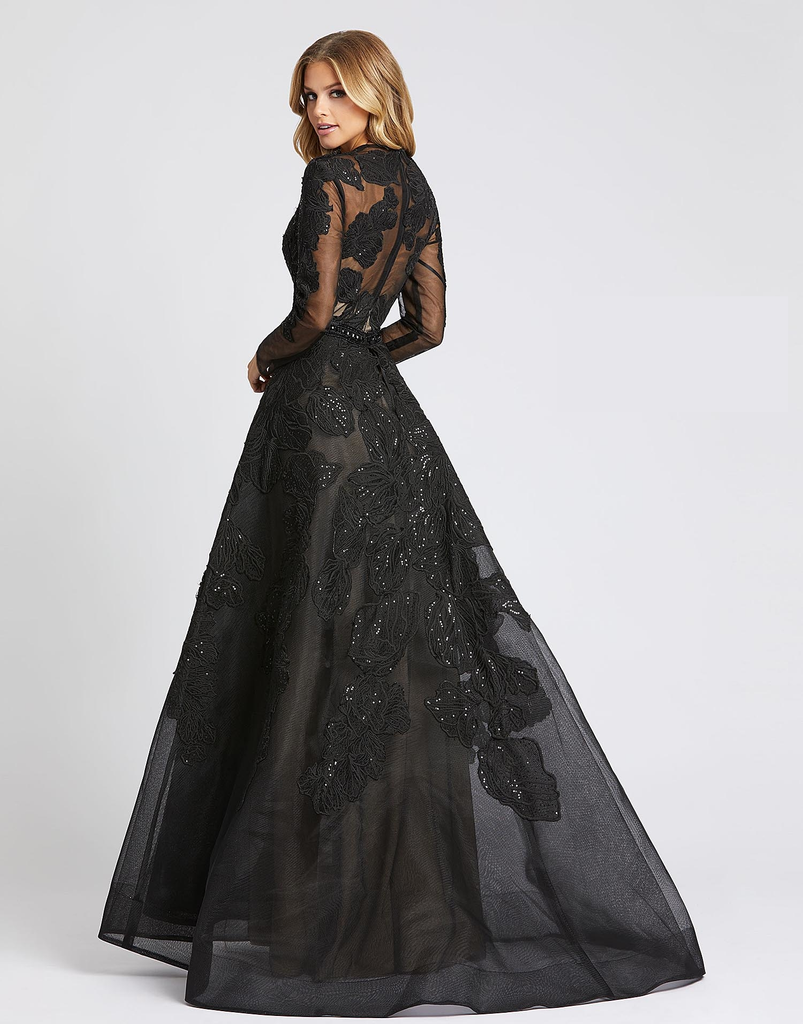 Poppy Floral Black Ball Gown
