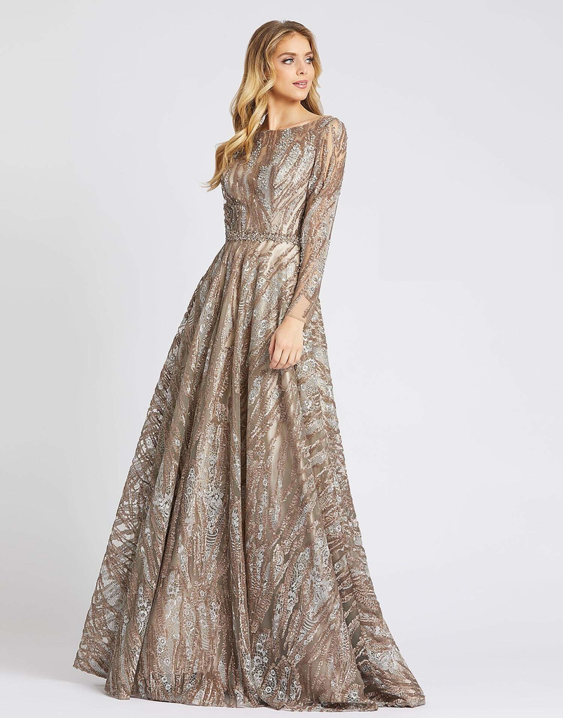 Mac Duggal metallic modest ballgown