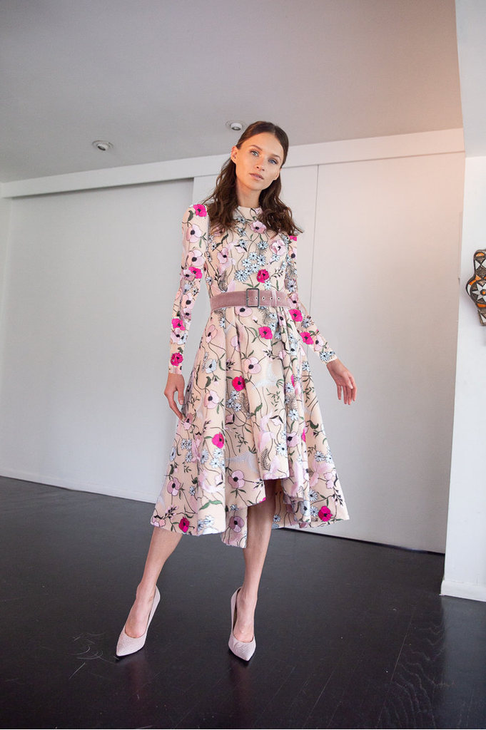 Miri Couture pink floral modest cocktail dress