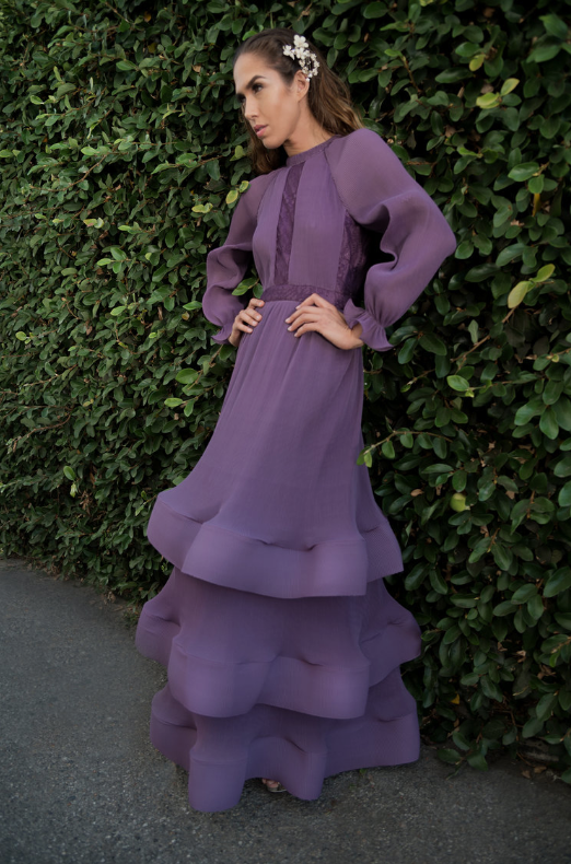 Miri Couture purple fluted bell sleeve modest gown