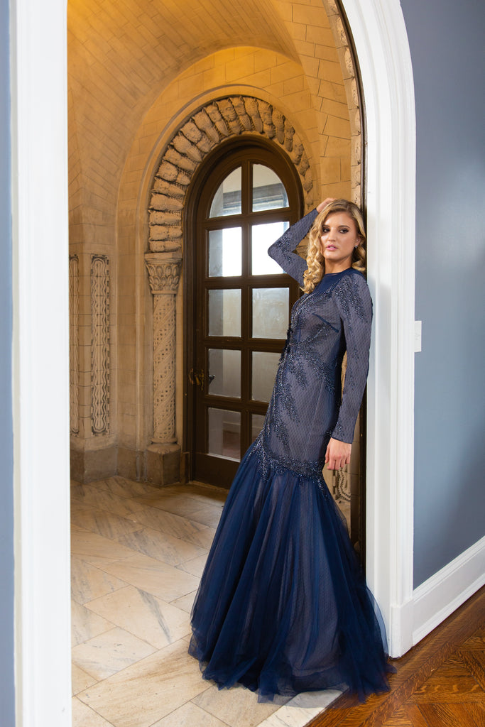 Teri Jon navy mermaid modest gown