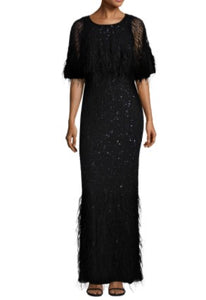 Feather Cape Gown