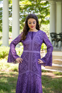 Bell Sleeve Purple Column Gown