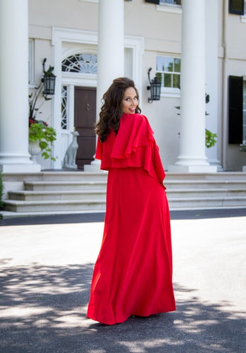 Ruffles and Drape Gown