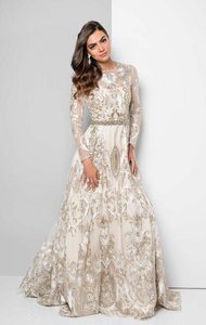 Embroidered White & Gold  Ball Gown