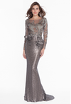 Terani Couture straight silver modest gown