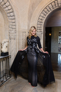 Black & Silver Sequin Skirt Cape Gown
