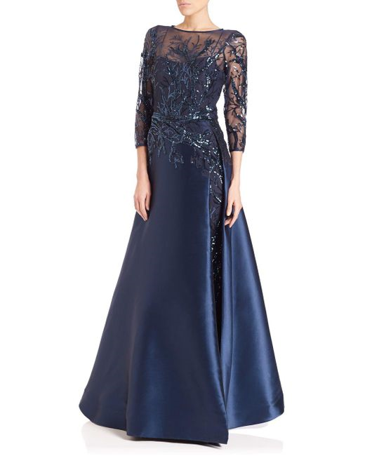 Navy modest gown with sequin top