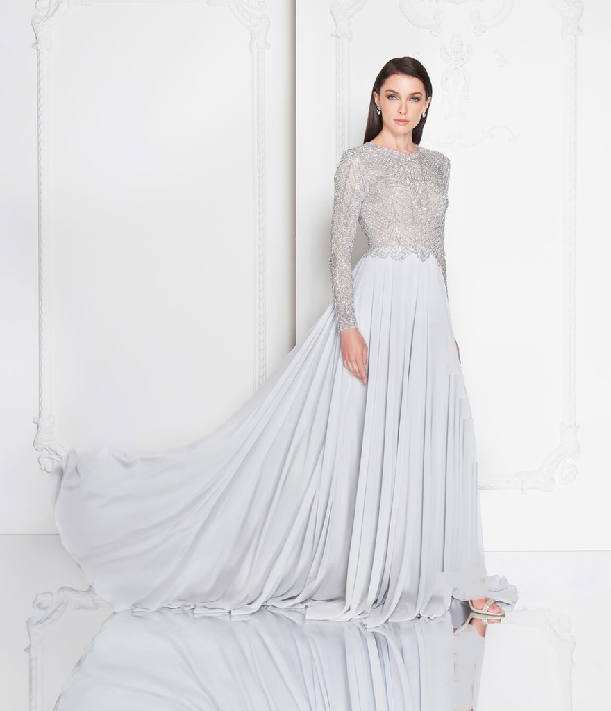 Terani Couture silver beaded crystal modest gown