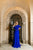 Cobalt roped peplum modest gown