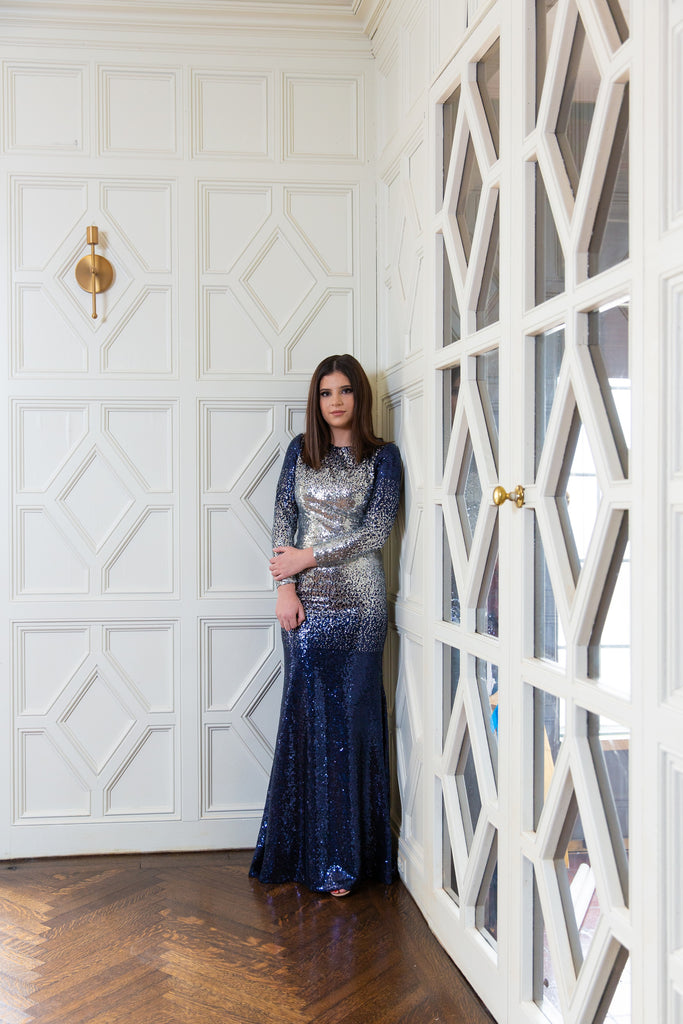 Navy & Silver Sequin Mermaid Gown