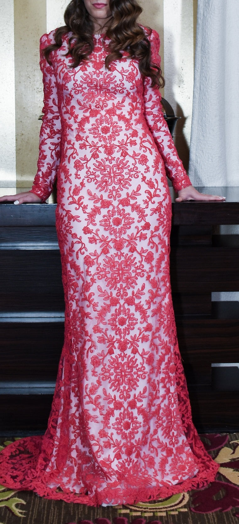 Illusion Embroidery Column Dress