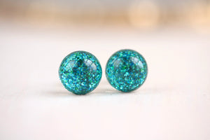 Tiny Galaxies Turquoise Glitter Studs
