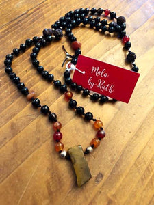 Mala Necklace with Tiger Eye Pendant