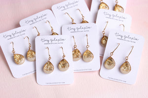 Tiny Galaxies White & Gold Leaf Teardrops