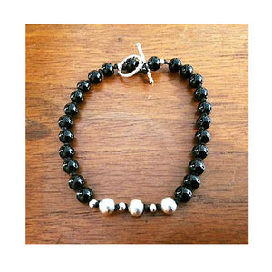 "The ""Ava Bean"" Black Onyx Mala Bracelet"