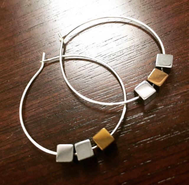 Geometric Sterling Silver Hoops