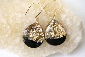 TINY GALAXIES BLACK AND GOLD GLITTER TEARDROPS (LARGE)