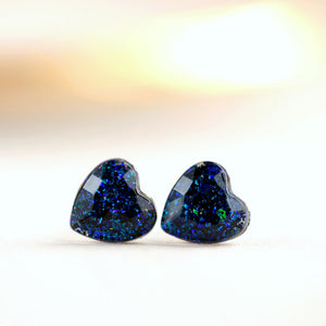 TWILIGHT GLITTER HEART POST EARRINGS