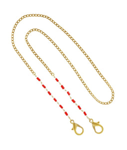 Gold Chain with Red Bead